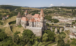 Aerial view of Corvin Castle in Romania royalty free stock photo