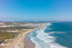 Aerial view of costa caparica coast beach in Lisbon, Portugal Royalty Free Stock Image