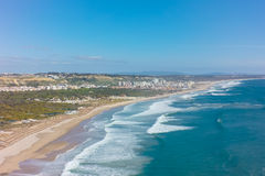 Aerial view of costa caparica coast beach in Lisbon, Portugal Royalty Free Stock Photos