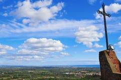 Aerial view of Costa Daurada. From Shrine of Virgin de la Roca in Mont-roig, Spain Royalty Free Stock Photos