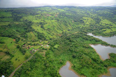 Aerial view in Costa Rica. Arenal Volcano area Stock Photography