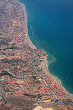 Aerial View of the Costaline of Spain. Aerial view of Spanish coastline as seen from 30,000 feet with vast number of buildings Stock Images