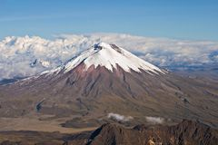 Aerial view of Cotopaxi Volcano, Ecuador. Aerial view of northen side of the Cotopaxi Volcano. In the foreground the Rumiñahui volcano; in the background, on Royalty Free Stock Image