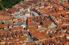 Aerial view of the Council square of Brasov city, Romania Stock Images