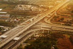 Aerial view on country area with highway roads Royalty Free Stock Images