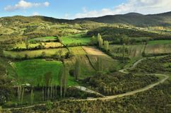 Aerial view of a country landscape in Turkey stock images