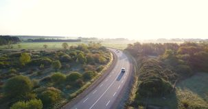 Aerial view country road stock video footage