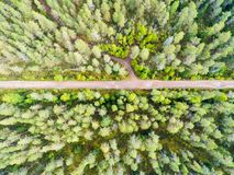 Aerial view of a country road in the forest. Beautiful landscape. Captured from above with a drone. Aerial bird`s eye road. Aeria. L top view forest. Texture of stock photography