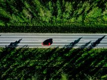 Aerial view of a country road with red car in the middle of green summer forest royalty free stock photo