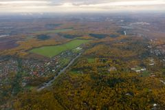 Aerial view of country side. Aerial view of suburban district at fall Stock Photo