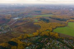 Aerial view of country side. Aerial view of suburban district at fall Stock Photos