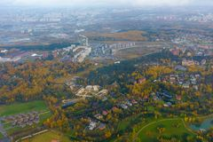 Aerial view of country side. Aerial view of suburban district at fall Stock Photography