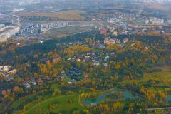 Aerial view of country side. Aerial view of suburban district at fall Royalty Free Stock Image