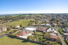 Aerial view of country town, Australia. View from above, taken with drone, of Leongatha, a small country town in Gippsland, Victoria Royalty Free Stock Photography