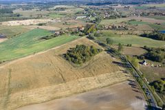 Aerial view of countryside Stock Photo