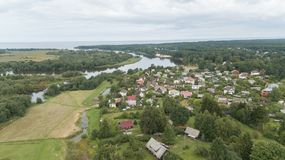 Aerial view of countryside Gauja lake field drone top view Royalty Free Stock Photos