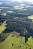 Aerial View : Countryside with meadows and forests Stock Photos