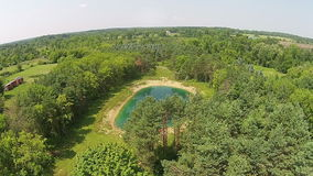 Aerial view of countryside in Michigan stock footage