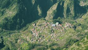 Aerial View of the Countryside in Mountains. Aerial View of the Typical Town in Mountains, Madeira Portugal stock video