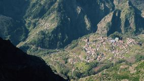Aerial View of the Countryside in Mountains. Aerial View of the Typical Town in Mountains, Madeira Portugal stock video footage