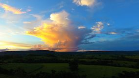 Aerial view of a countryside`s sunset. stock photo
