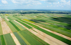 Aerial view of the countryside with village and fields of crops Stock Photo