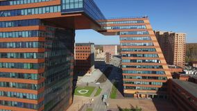 Aerial view coworking center `Boiling point` in the Technopark Novosibirsk, Russia stock footage