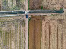 Aerial view of the rice fields. stock photo