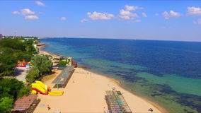 Aerial view on crimean coastline. With beach and resort area stock video footage