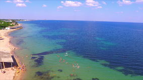 Aerial view on crimean coastline stock footage