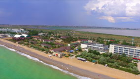 Aerial view on crimean coastline. With beach and resort area stock video