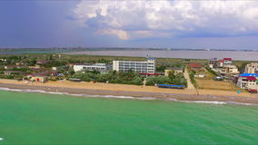 Aerial view on crimean coastline. With beach and resort area stock footage