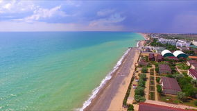 Aerial view on crimean coastline stock video footage
