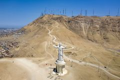Aerial view of Cristo del Pacifico and Morro Solar hill in the background royalty free stock photos