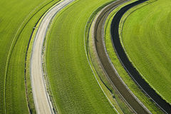 Aerial View of Cropland. Aerial view of agricultural cropland fields. Horizontal shot royalty free stock images