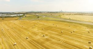 Aerial view of cropped wheat field with bales of hay in the countryside. View of the highway with driving cargo on a. Sunny day stock video footage