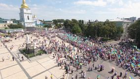 Aerial View of cross-bearing procession. July 28, 2018. Kyiv, Ukraine. Aerial View of cross-bearing procession. Thousands of followers of the Ukrainian Orthodox stock video footage