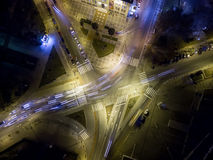 Aerial view of cross road in Thessaloniki at night, Greece. Royalty Free Stock Images
