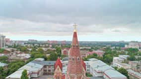 Aerial view of the cross on spire of Odessa Lutheran St. Paul`s Cathedral, German Evangelical Lutheran Church of Ukraine