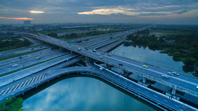 Aerial view of crossing road bridge in out skirt of bangkok thai Royalty Free Stock Photography