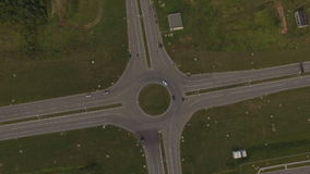 Aerial View Crossroad Cars Move Around  Circle stock video footage