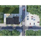 Aerial view of crossroad and town building, 3d render. Illustration Royalty Free Stock Photo