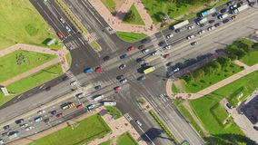 Aerial view of crossroads stock footage