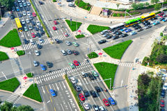 Aerial view of the crossroads in Qingdao, China Royalty Free Stock Images