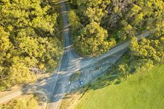 Aerial view of crossroads and trees. Aerial view of intersecting roads in South Gippsland, Victoria, Australia stock images