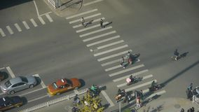 Aerial view of crosswalk & overpass traffic at an urban city,zebra crossing. This is Aerial view of crosswalk & overpass traffic at an urban city,zebra stock video