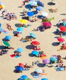 Aerial view of crowded beach. Arial view of a crowded beach in a hot sunny summer day Royalty Free Stock Images