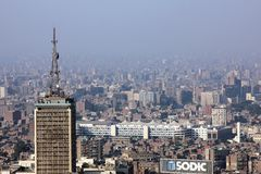 Egypt cairo skyline. Aerial view of the crowded city cairo from cairo tower during sunshine in egypt in africa