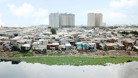 Aerial view of crowded slum neighborhood Stock Photos
