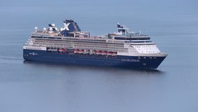 Aerial view of Cruise Liner Celebrity Millennium sailing in Pacific Ocean stock video